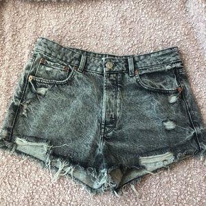 Zara Acid Wash High Waisted Shorts